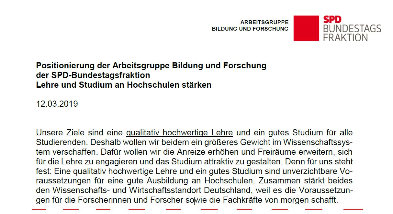 SPD Lehre und Studium an Hochschulen stärken