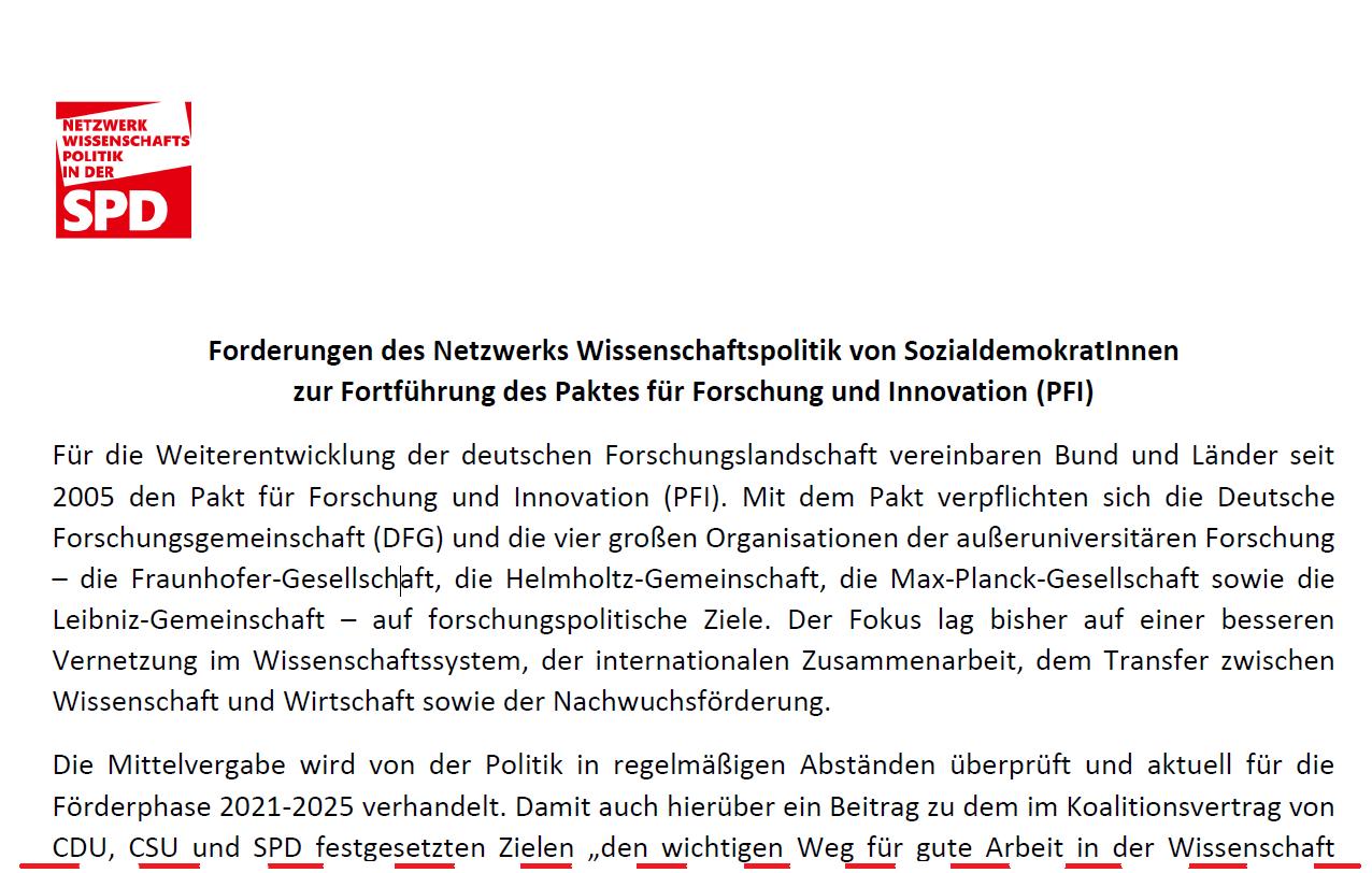 Forderungen des Netzwerks Wissenschaftspolitik von SozialdemokratInnen zur Fortführung des Paktes für Forschung und Innovation